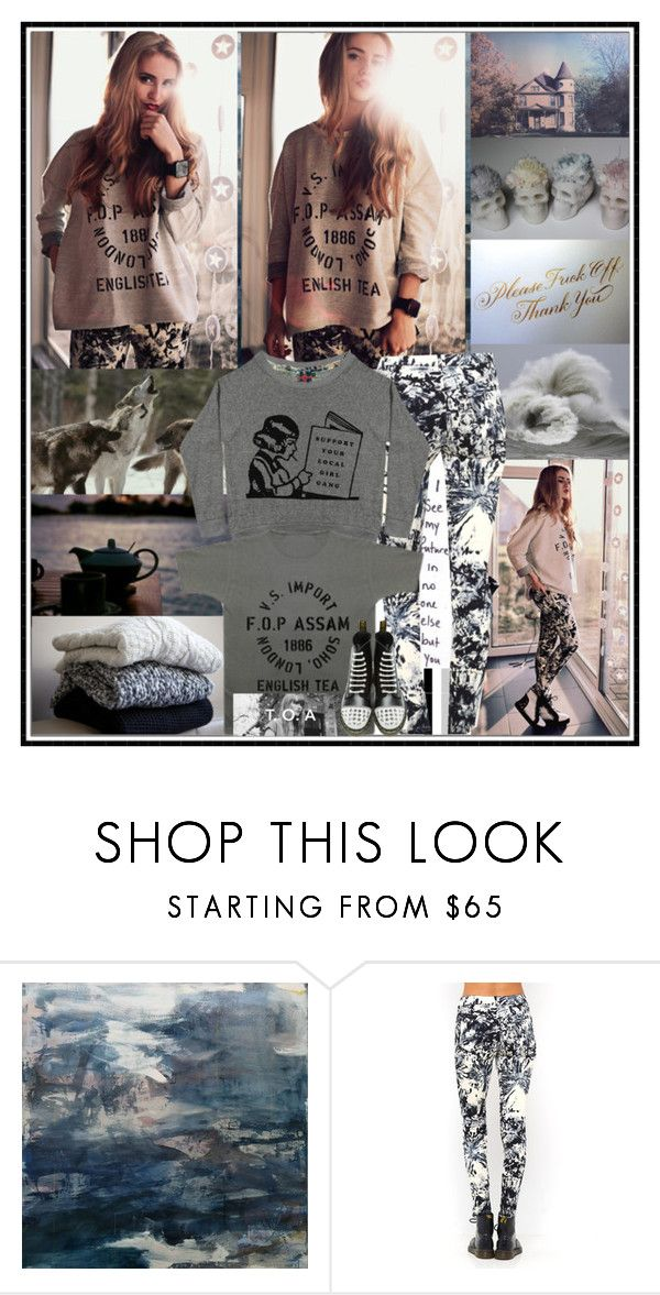 """""""Check out TheOrphansArms here: http://www.theorphansarms.bigcartel.com/ amazing clothing/bags from just £6! :D"""" by leannesugarplum ❤ liked on Polyvore featuring Robin Feld, Motel, Dr. Martens, DrMartens, prints, BloggerStyle, grey and theorphansarms"""