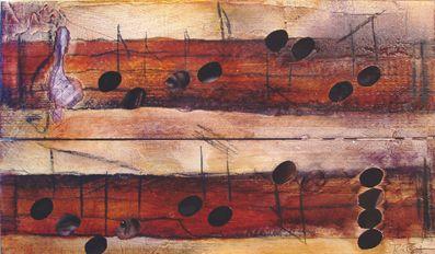 #augenlied/ #Noten/ #Musik, #Aquarell auf Holz mit #Collage, 25 x 40 cm