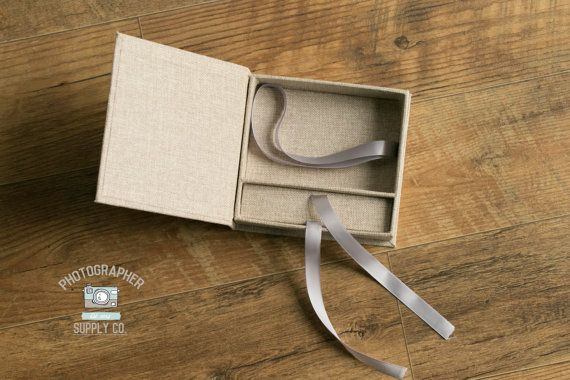 Linen And Ribbon 4x6 Print Usb Flash Drive Box Holder Perfect Photographer Photo Packaging Or Small Gift