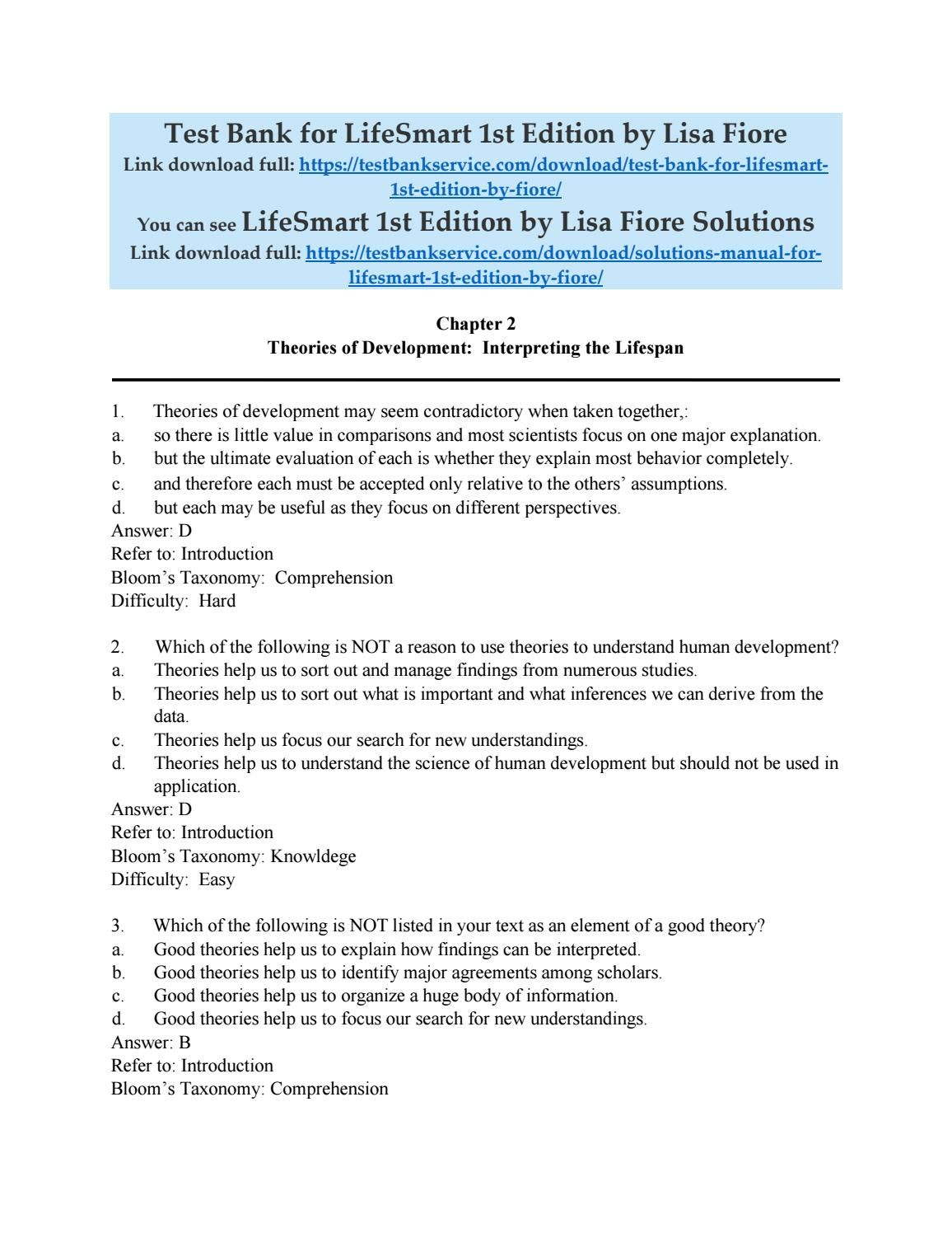 Test bank for lifesmart 1st edition by lisa fiore
