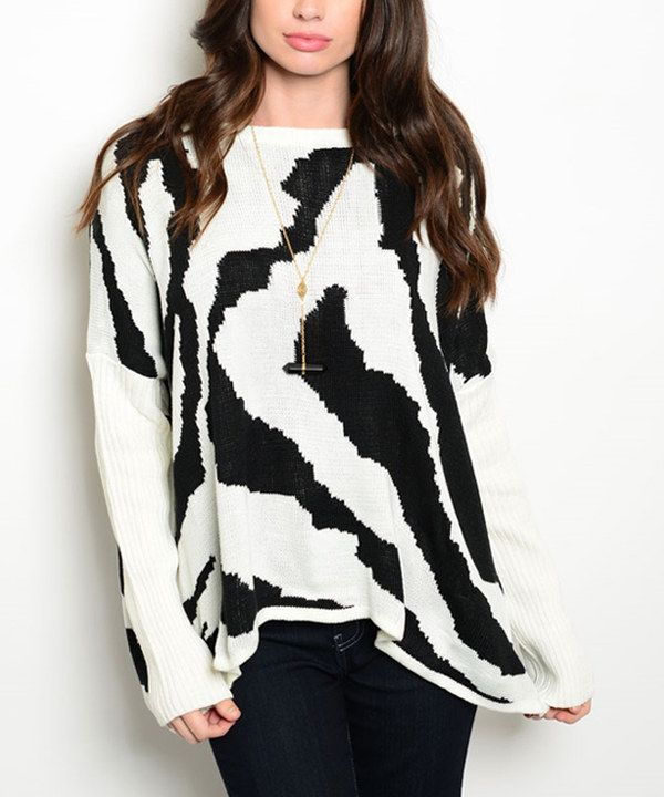Look at this White & Black Zebra Sweater on #zulily today!