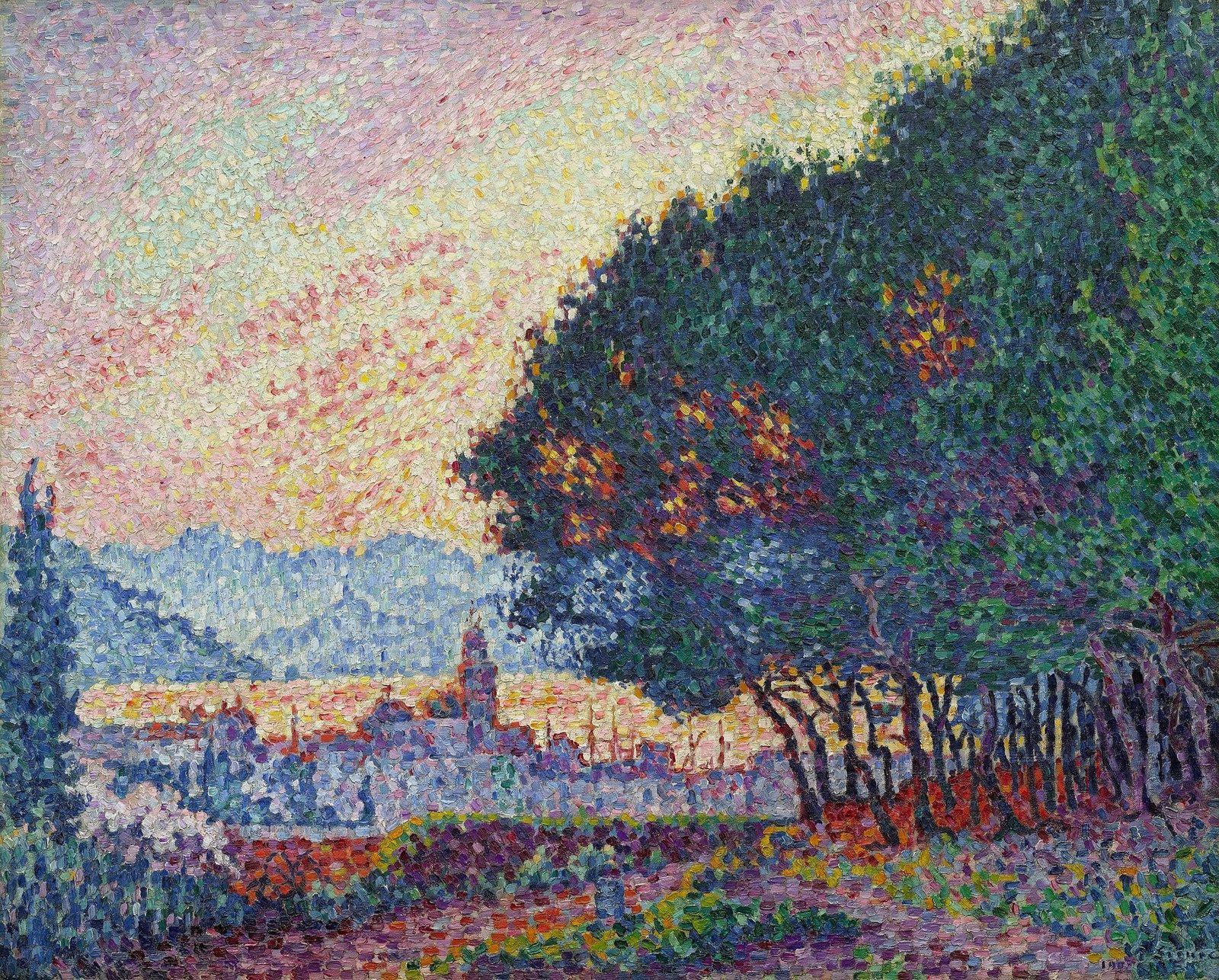 Artiste Peintre St Tropez saint-tropez, the town and the pines, 1902 | paul signac