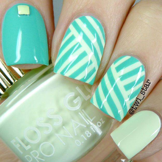Aqua and lime basket weave mani using striping tape - Flossgloss Wet ...