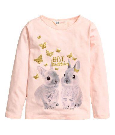 Tricot top met print   Lichtroze/konijn   Kinderen   H&M NL
