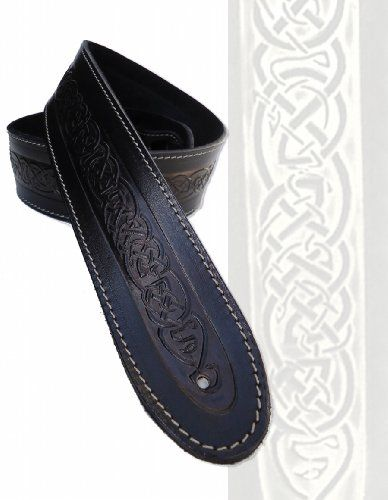 Ukmade Black Celtic Knot Leather Guitar Strap Acoustic Bass 6 Free Picks Be Sure To Check Out This Aweso Guitar Strap Leather Guitar Straps Acoustic Bass