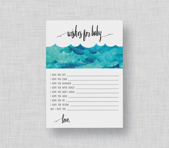 Whale Baby Shower Wishes  Watercolor Whale Wishes by kandsdotco
