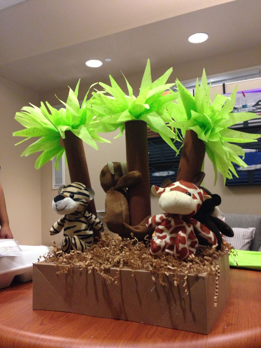 Jungle Themed Baby Shower Centerpiece Made Out Of Recycled Materia Jungle Baby Shower Theme Baby Shower Elephant Theme Centerpieces Elephant Baby Shower Theme
