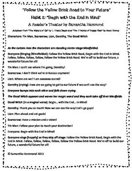 Leadership Reader S Theater Habit 2 Begin With The End In Mind Healthy Habits For Kids Habits Of Mind 7 Habits