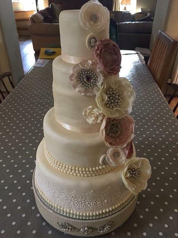Perlas De Imitación Y Broche Vintage Wedding Cake Stand Redondo O Cuadrado Todos Los Tamaños