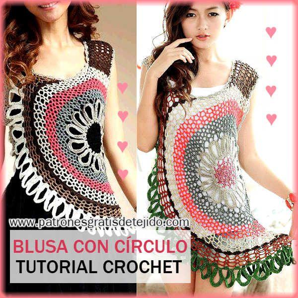 Como tejer blusa crochet con motivo circular paso a paso | GANCHILLO ...