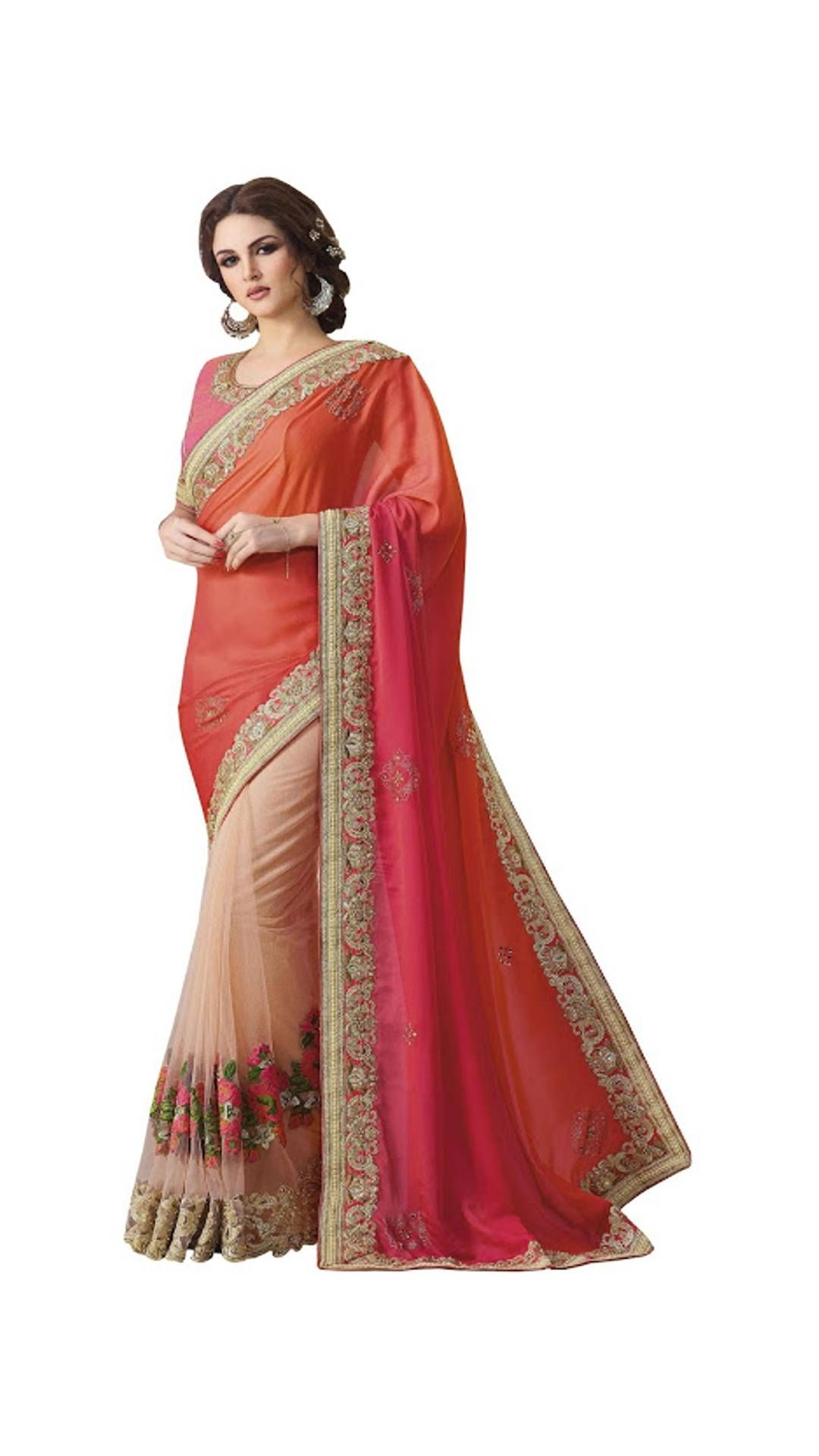 c58ae829b Paytm.com - Buy Buy Silk Georgette With Nylon Net Shaded Orange Designer  Saree online at best prices in India on Paytm.com