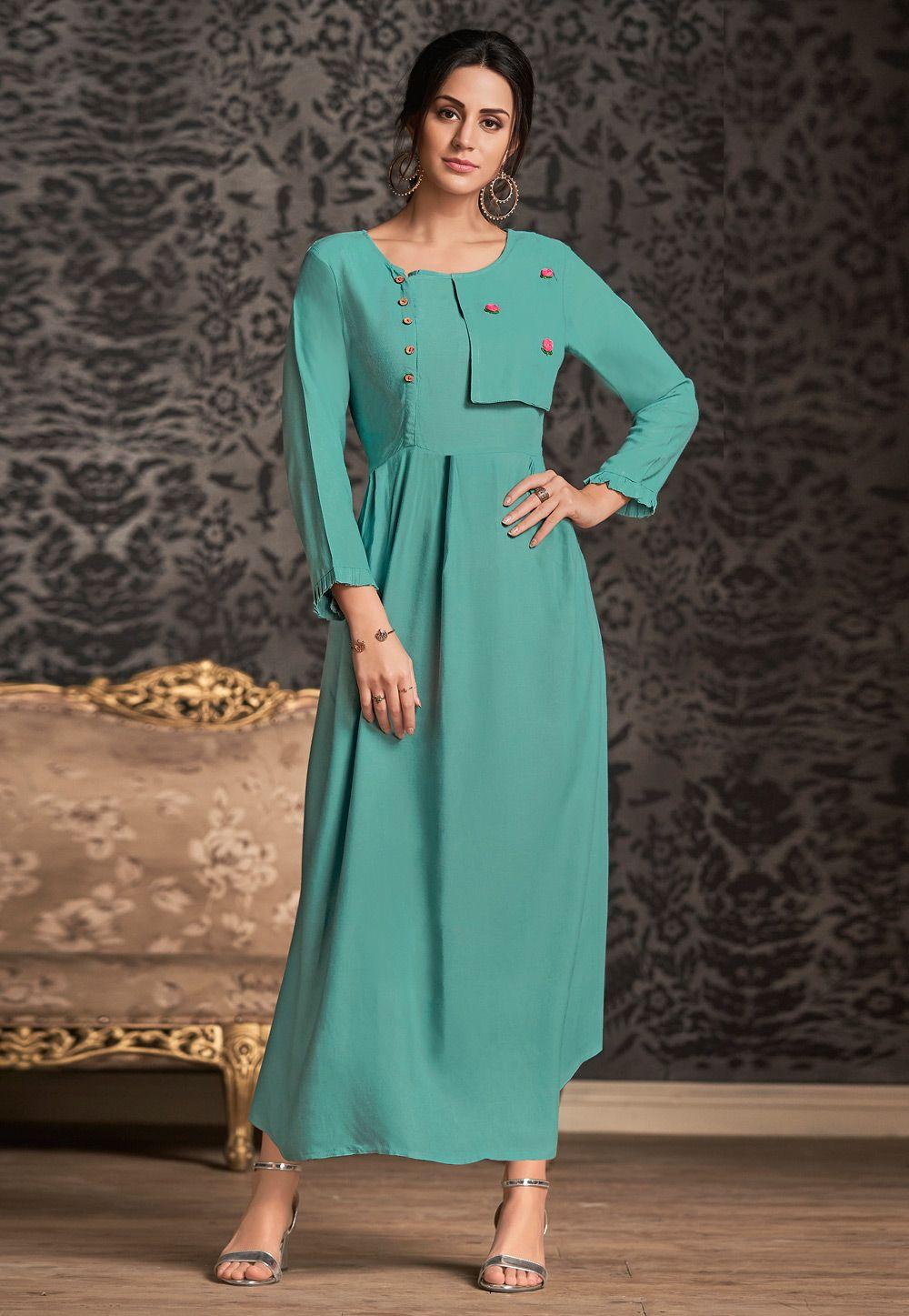 Sea Green Rayon Readymade Kurti 163400 | Fashion, Bollywood