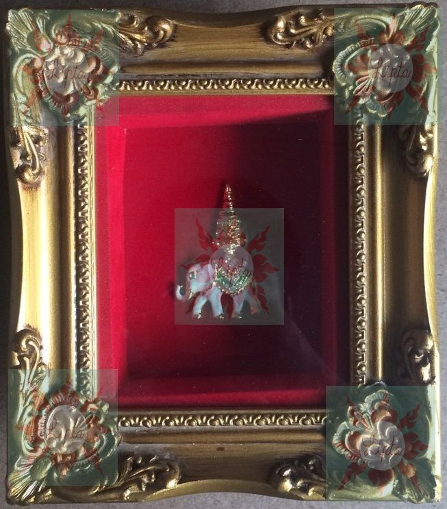 Elephant in real wood frame (frame size: 5\