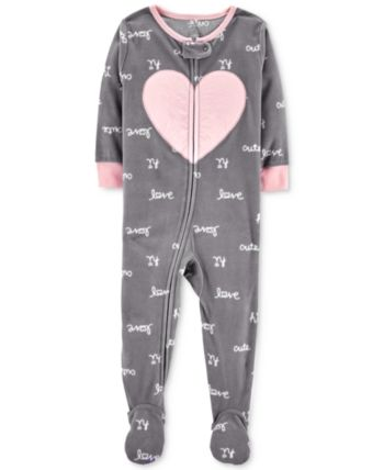 d6c3d1c1c Carter s Baby Girls Heart Footed Fleece Pajamas - Plum Heart 18 ...