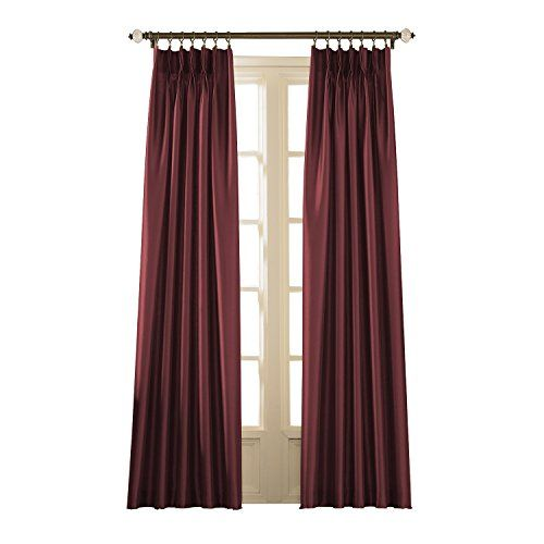 Curtainworks Marquee Faux Silk Pinch Pleat Curtain Panel 30 By 108 Bordeaux For Sale Pleated Curtains Pinch Pleat Curtains Panel Curtains