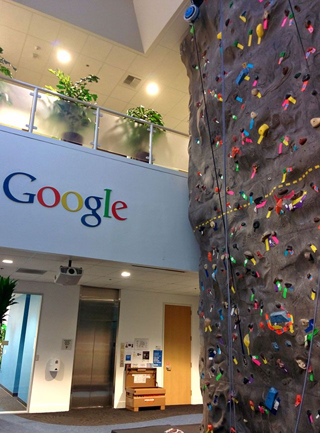 You are not a technology company if you do not have a rock climbing wall inside your office, plain and simple. Here is a picture of Google's indoor rock climbing wall at the GooglePlex. The picture