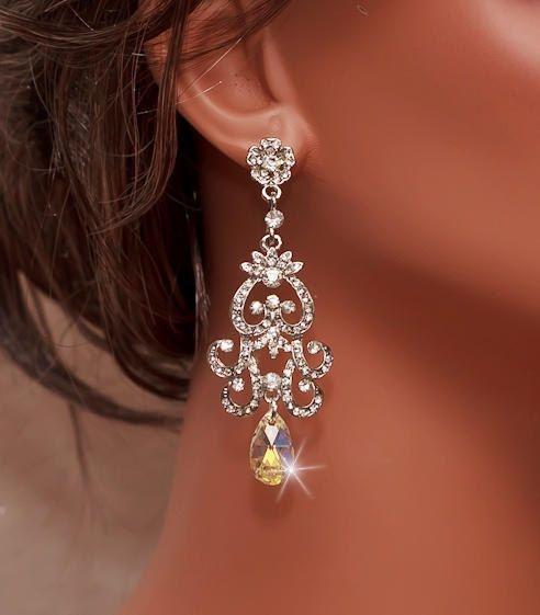 Bridal Rhinestone Earrings, Swarovski AB Crystal Earrings, Chandelier Earrings, Antiqued Style Earrings, Dramatic Earrings, NICOLA on Etsy, $50.00