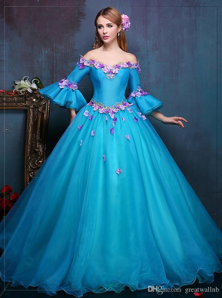 100%real royal embroidery blue flower ball gown Medieval dress ...