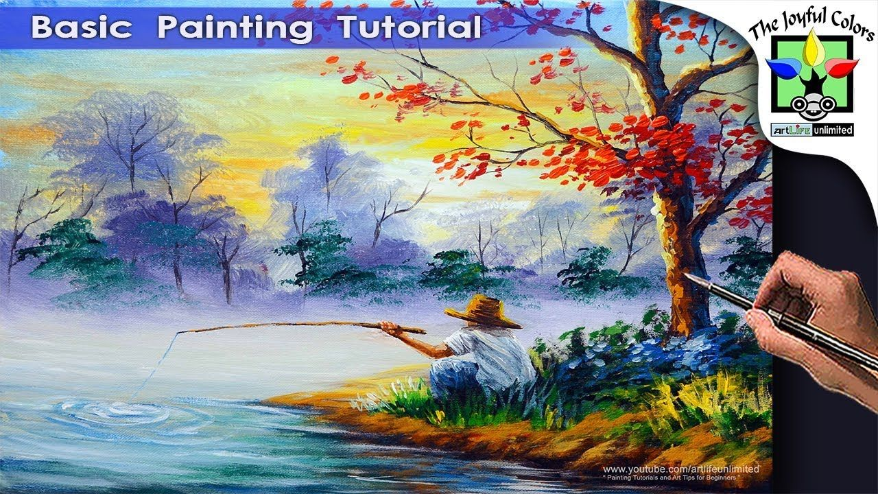 fisherman in the lake basic painting tutorial step by step easy