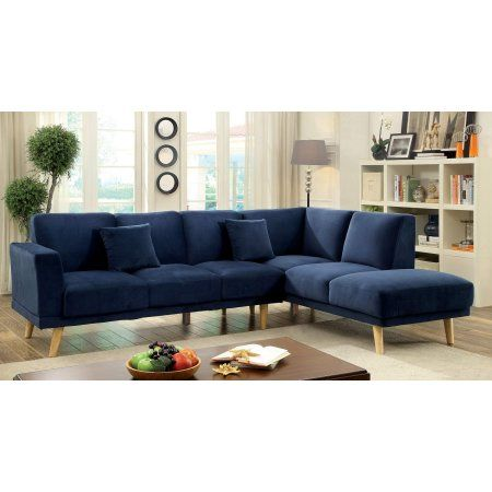 Furniture Of America Marcellis L Shaped Sectional Multiple Colors Blue Furniture Modern Sectional Navy Sectional