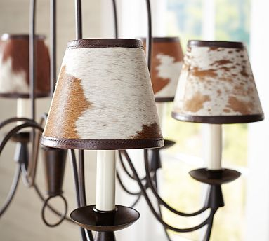 Pb Basic Cowhide Chandelier Shade Set Of 3 With Images