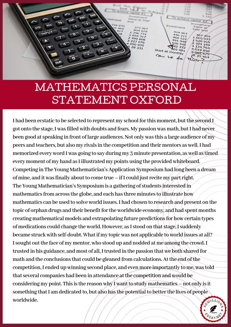 Personal statement sample mathematics