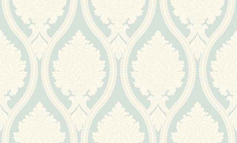 Corona Duck Egg (888003) - Arthouse Wallpapers - A bold damask design with an oval trellis effect, created in textured blown vinyl.  Shown in the cream on duck egg blue green colourway. Co-ordinating stripe available. Please request sample for true colour and texture match.