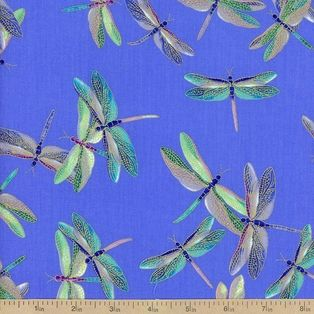 Shimmer Dragonfly Cotton Fabric - Periwinkle