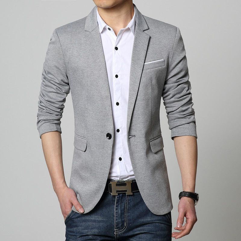 ef1341e194ed7 Mens Fashion Night Out. New Slim Fit Casual jacket Cotton Men Blazer Jacket  Single Button Gray Mens Suit Jacket 2016 Autumn Patchwork Coat Male Suite