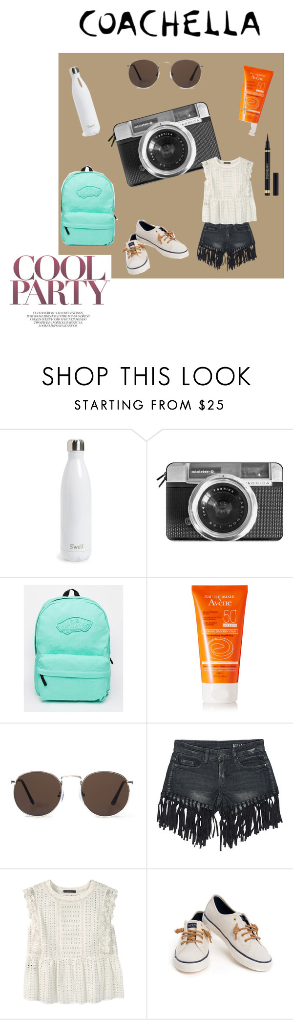 """""""Ready. Set. Coachella."""" by cheetakat12 on Polyvore featuring S'well, Casetify, Vans, Avène, MANGO, Sans Souci, Violeta by Mango, Sperry, Yves Saint Laurent and packforcoachella"""
