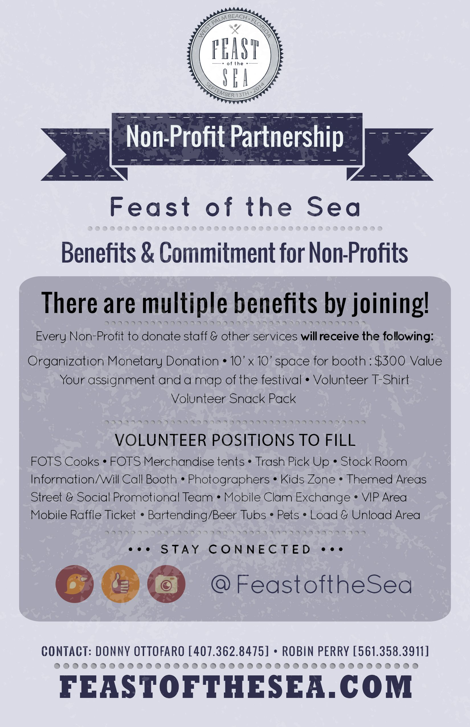 Non Profits Volunteer Needed For West Palm Beach Seafood Festival Feast Of The