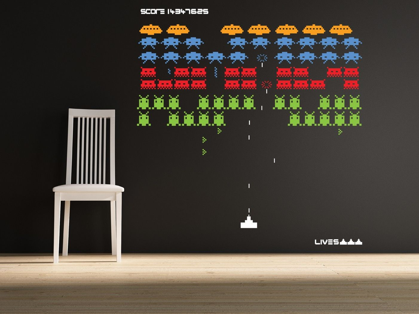Space invaders wallpaper house ideas pinterest arcade games kid and nostalgia - Space invader wall stickers ...