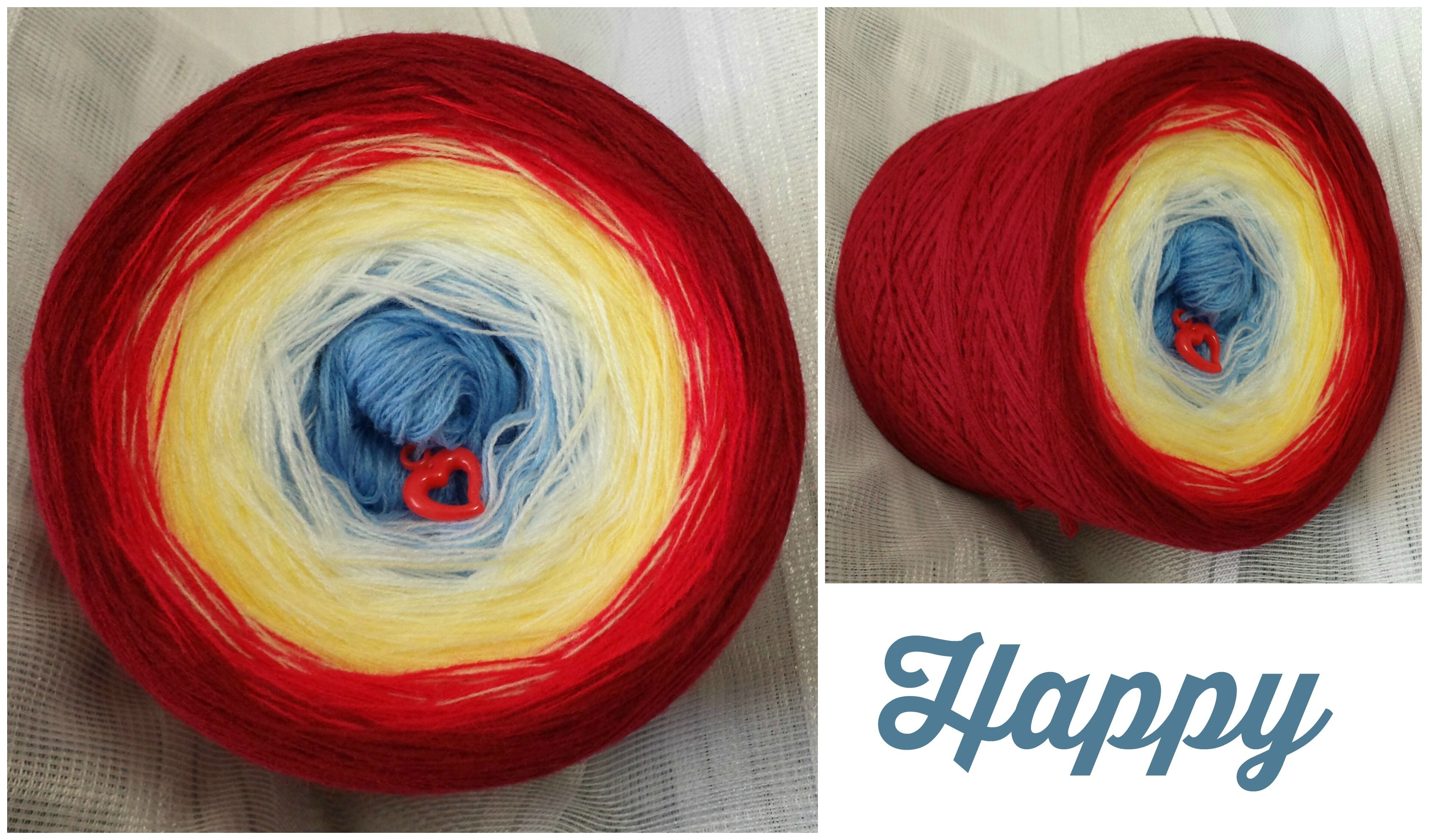 Bobbel *Happy* Material: Hochbauschacryl 5 Farben (rein) mittelblau natur vanille himbeerrot weinrot