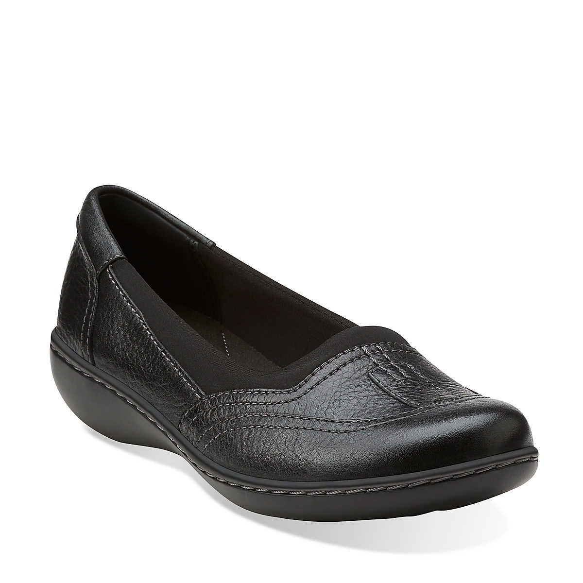 Ashland Hustle in Black Leather Womens Shoes from Clarks