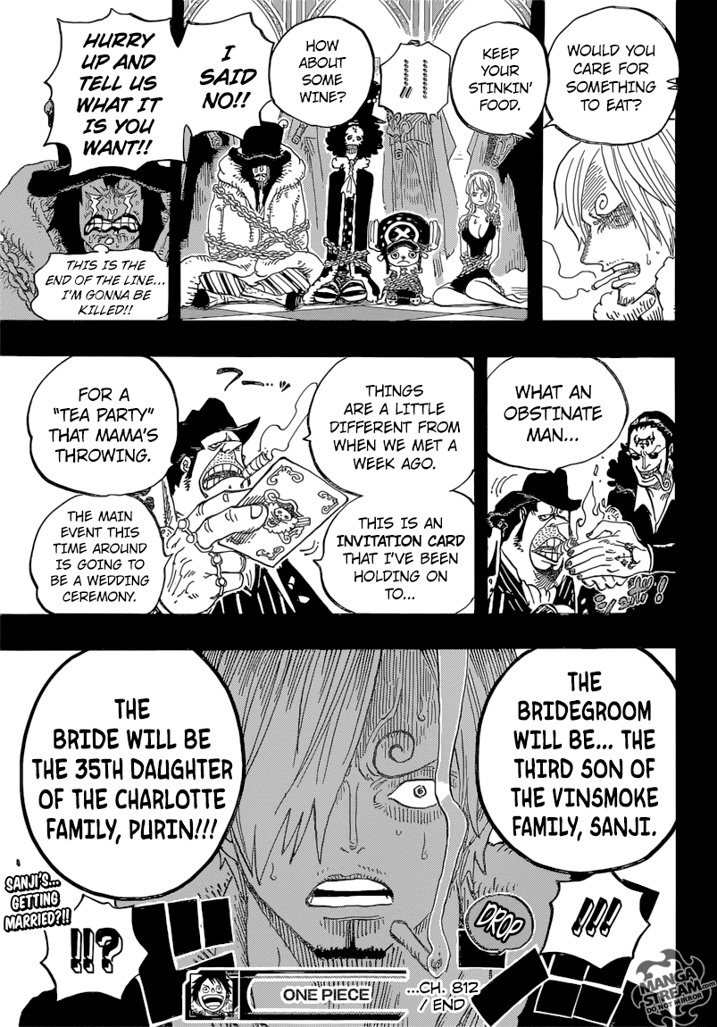 One Piece 812 - Page 20 - Manga Stream .i have never Noped harder in my entire life. SANJI FRICKEN VINSMOKE. Getting MARRIED via arranged marriage? He has 2 older brothers...
