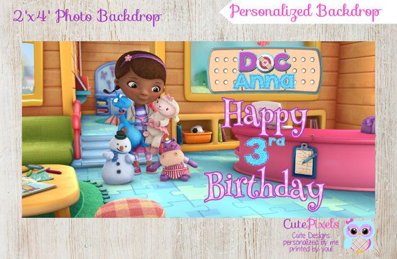 Doc McStuffins Backdrop  Doc McStuffins Birthday  Birthday Photo Booths  Doc McStuffins Party  Digital File