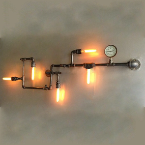 Vintage Iron Pipes Wall Lamp