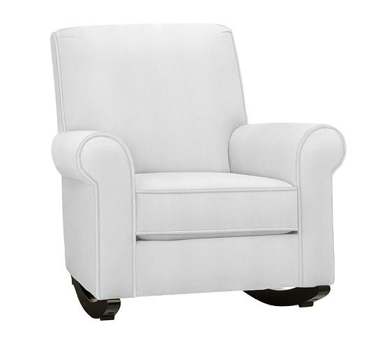 Charleston Upholstered Convertible Rocker, White Twill
