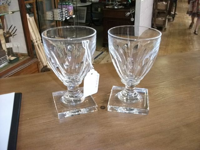 Pair of Georgian Style Victorian Glass Rummers on Square Bases