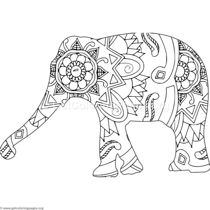 free zentangle elephant coloring pages - photo#21
