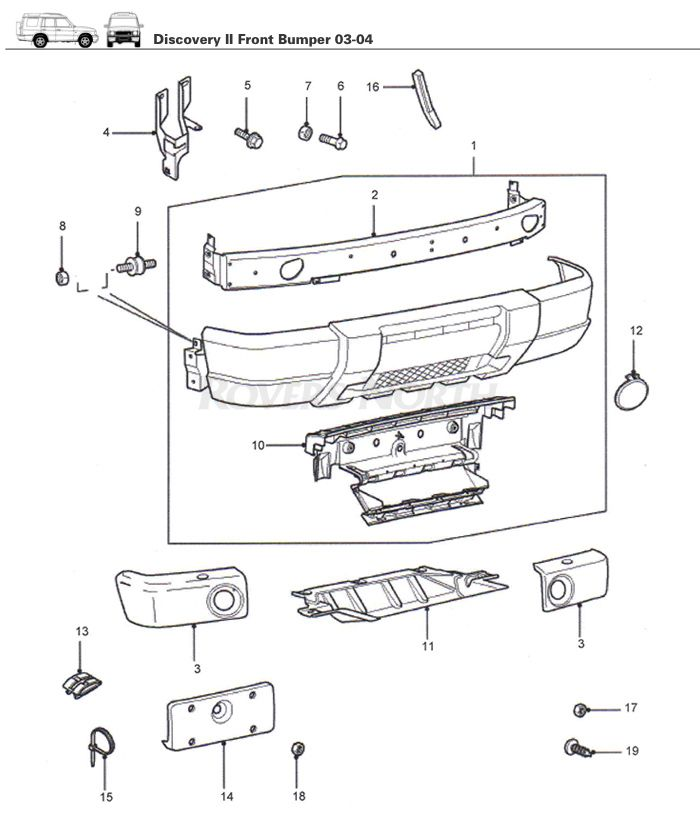 discovery ii front bumper 2003-2004 - rovers north