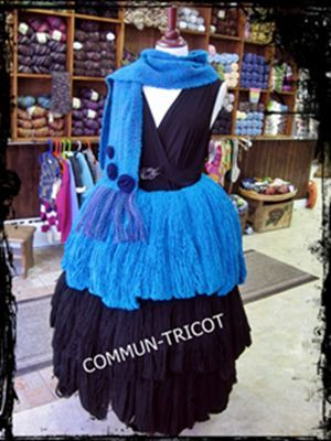 mannequin in our shop window... her dress is made up of approximately 60 hanks of alpaca, merino and cashmere #yarn