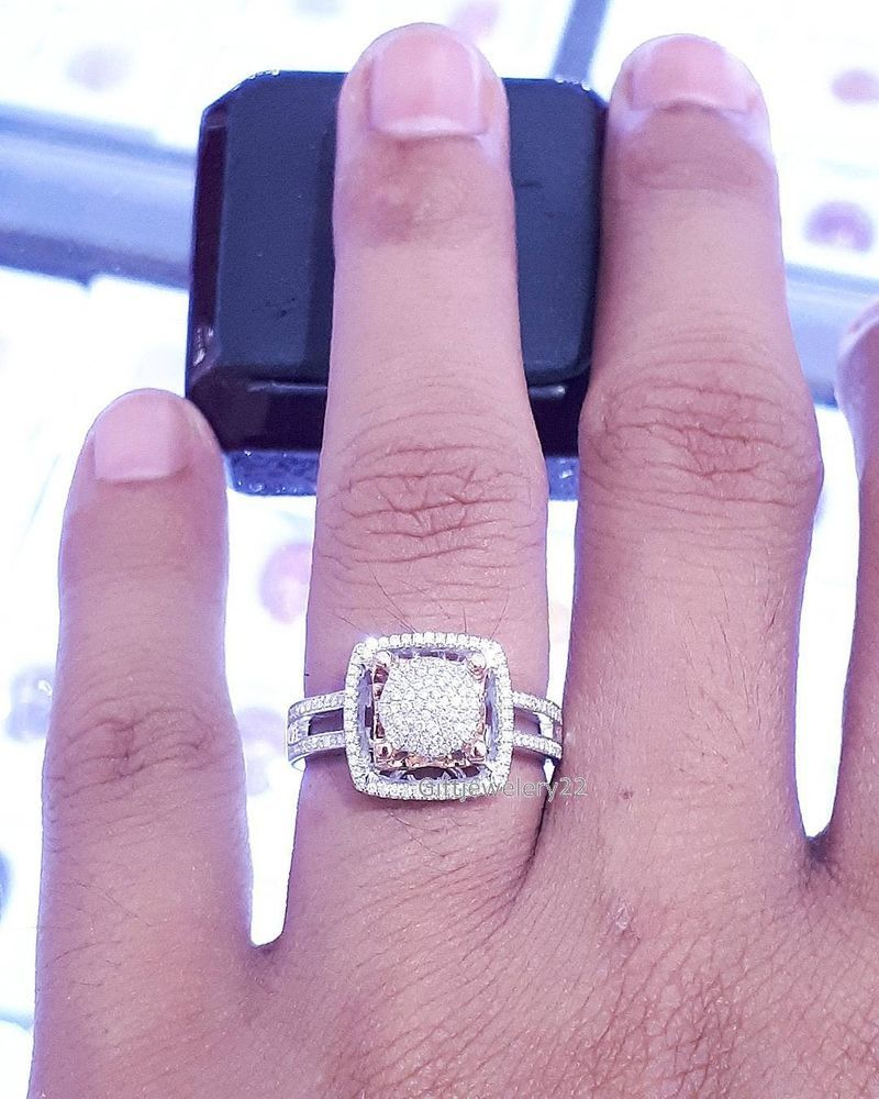Ladies 14K White Gold Round Cut Diamond Engagement Wedding Bridal ...