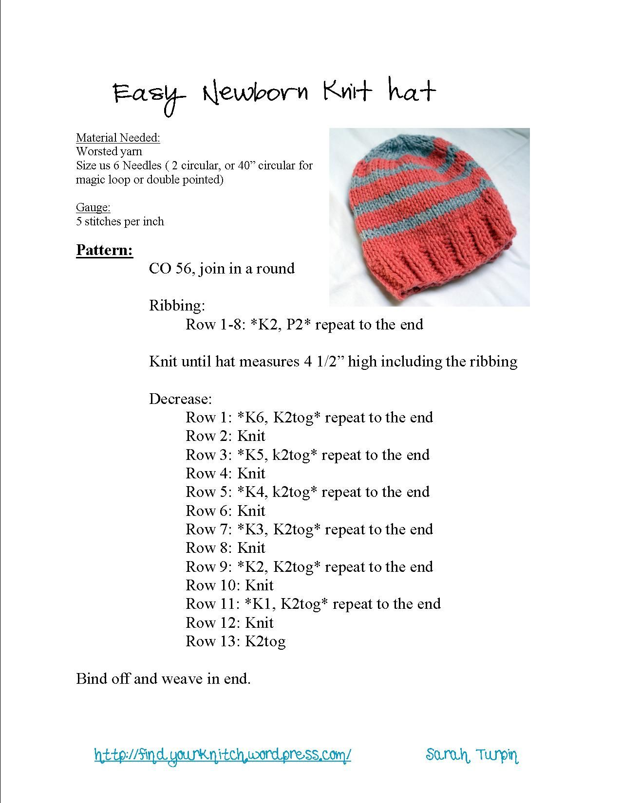 Easy newborn knit hat knit hats patterns and easy easy newborn knit hat bankloansurffo Images