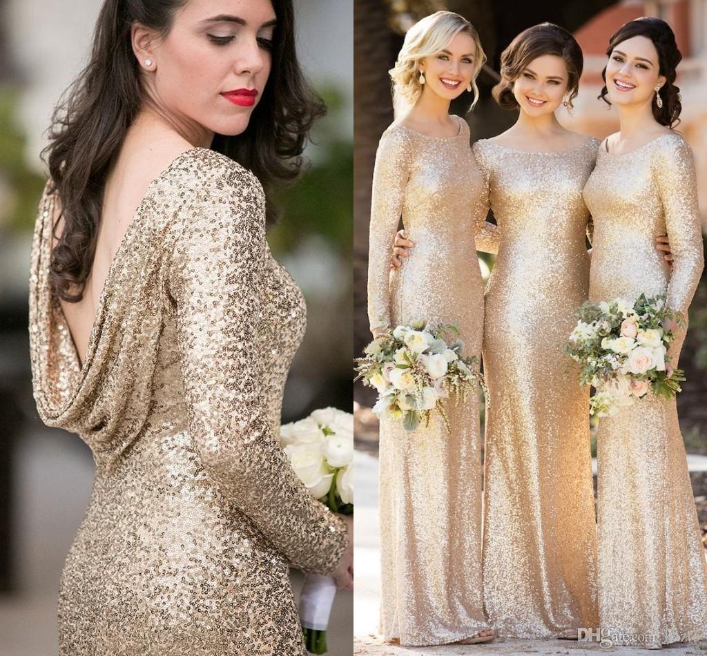 Sorella Vita Sparkly Champagne Sequins Bridesmaid Dresses with Long Sleeve  2018 Plus Size Cloak Back Maid 55ed26b5785b