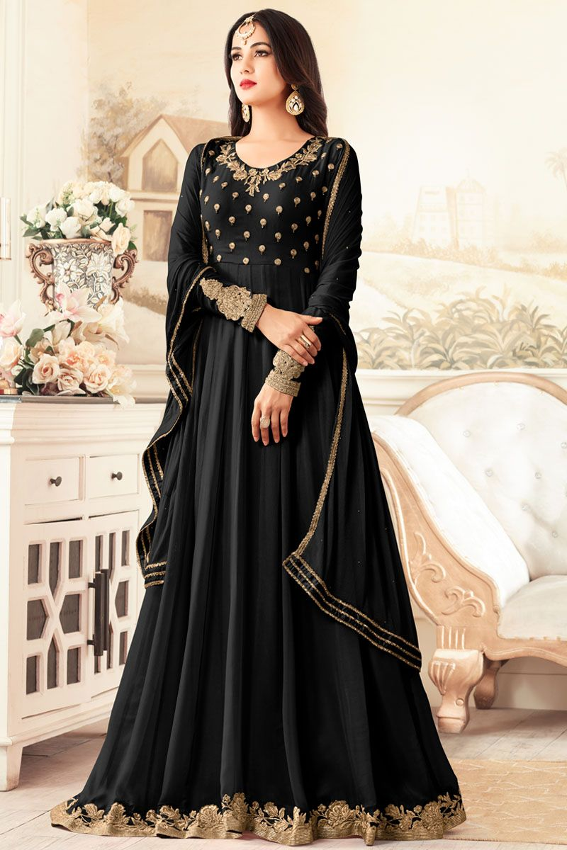 Black embroidered georgette party wear attractive traditional look