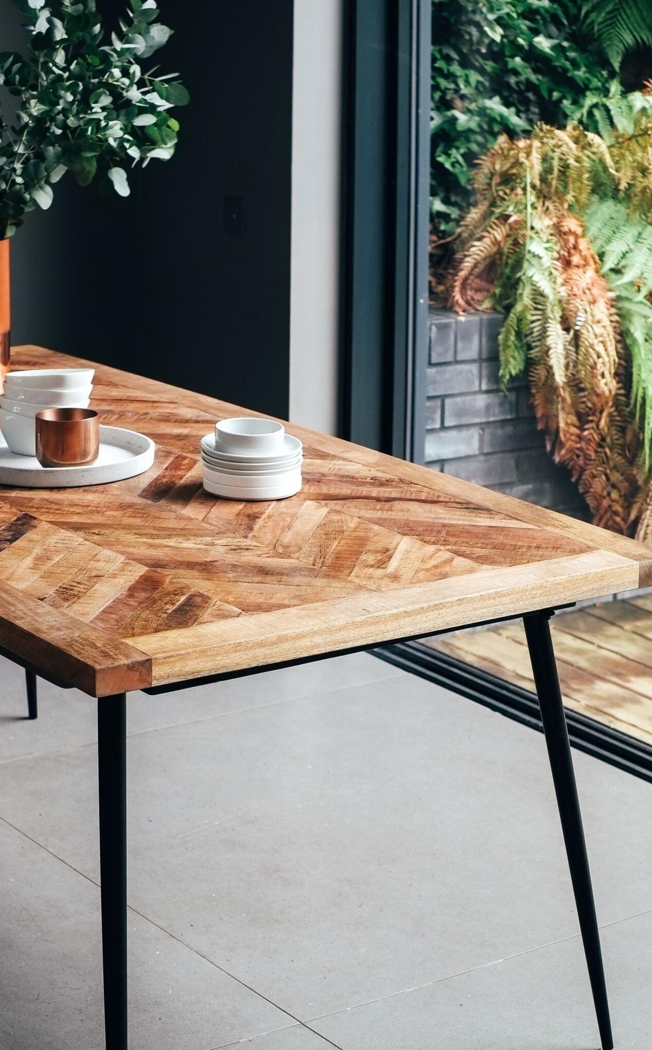 Ellis Coastal Dining Room Decor Metal Dining Table Wooden