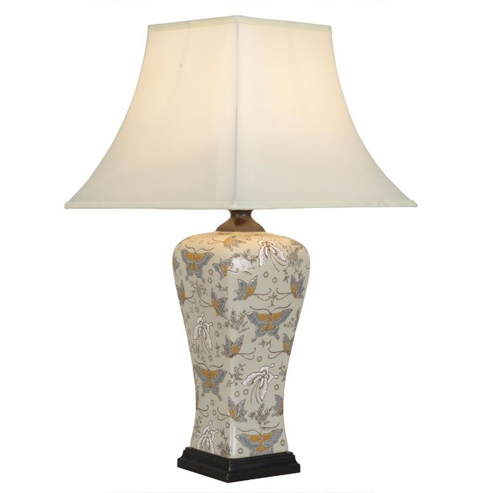 Square Sided Porcelain Butterfly Lamp #ChineseLighting
