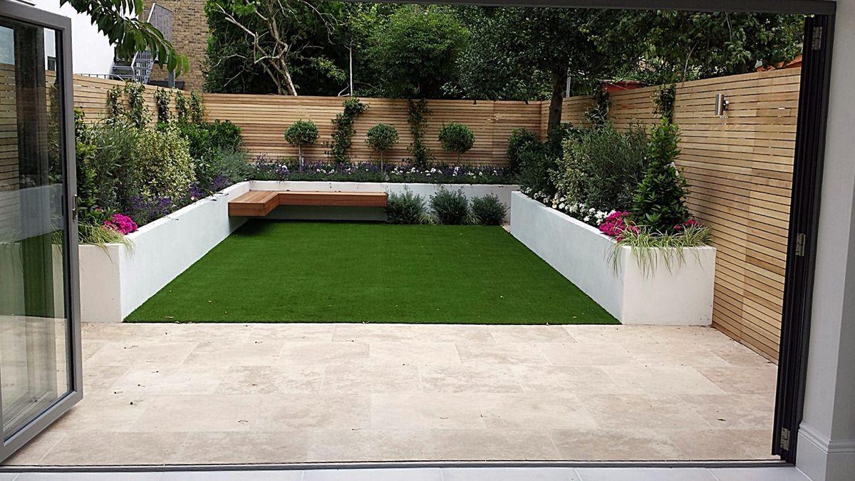 Modern Urban Low Mainteance Garden Design Balham Clapham Dulwich Fulham Chelsea London Travertine Urban Garden Design Garden Design London Small Garden Design