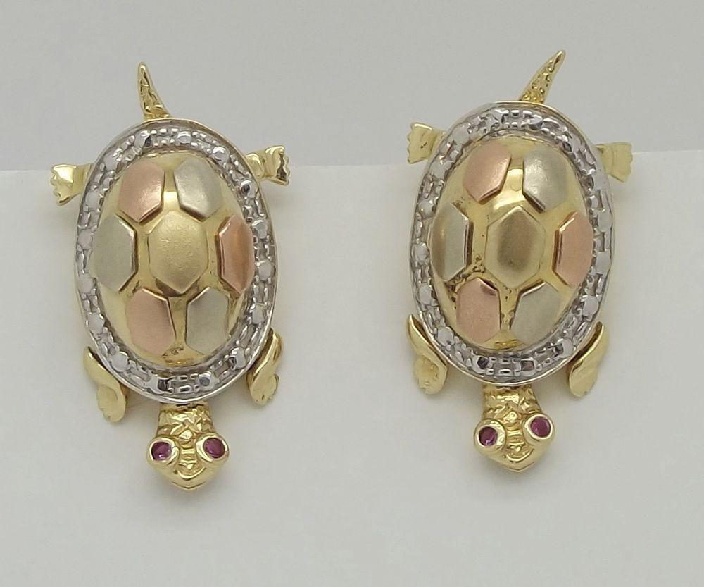 Huge Vintage 14k Multi Color Gold Turtle Earrings With Ruby Eyes